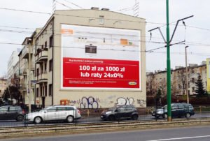 Reklama na ścianie wielkoformatowej